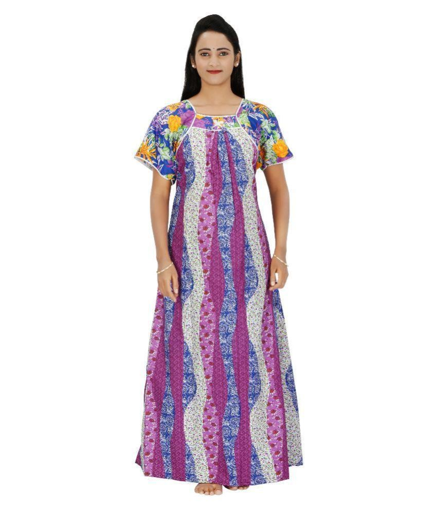 Buy Indian Beauty Multi Color Cotton Nighty   Night Gowns Online at ... 3391ae3f2