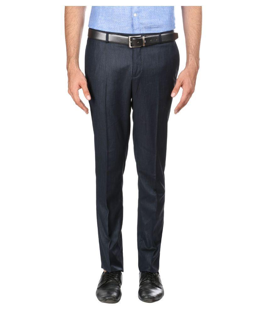 Oxemberg Black Slim Fit Flat Trousers