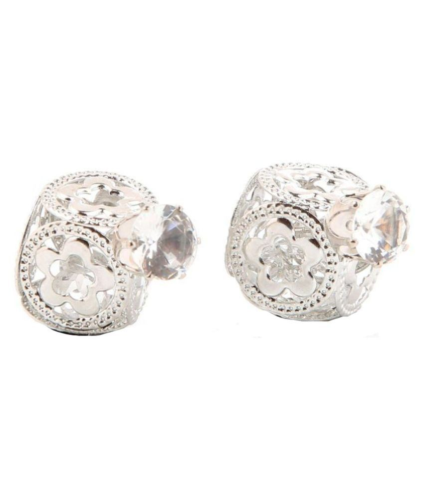 Goldnera Alloy Studded Silver Color Earrings