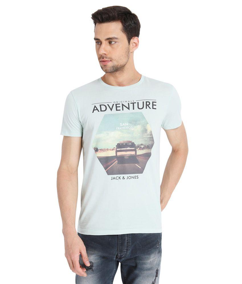 Jack & Jones Blue Round Neck Half Sleeves Sleeves Prints T-Shirt