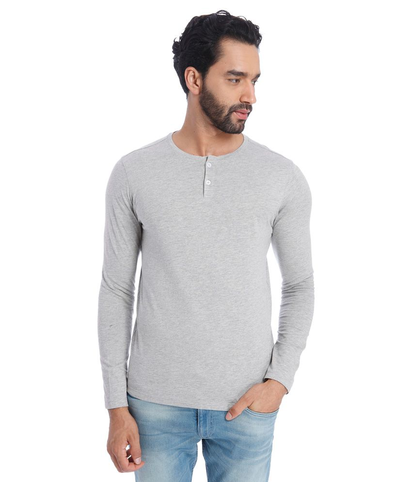 Jack & Jones Gray Henley Neck Full Sleeves Solids T-Shirt
