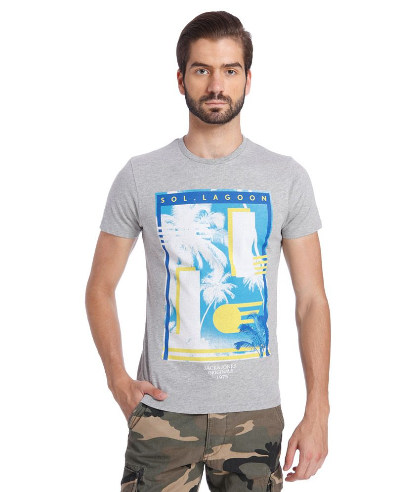 Jack & Jones Grey Round Neck Half Sleeves Printed T-Shirt