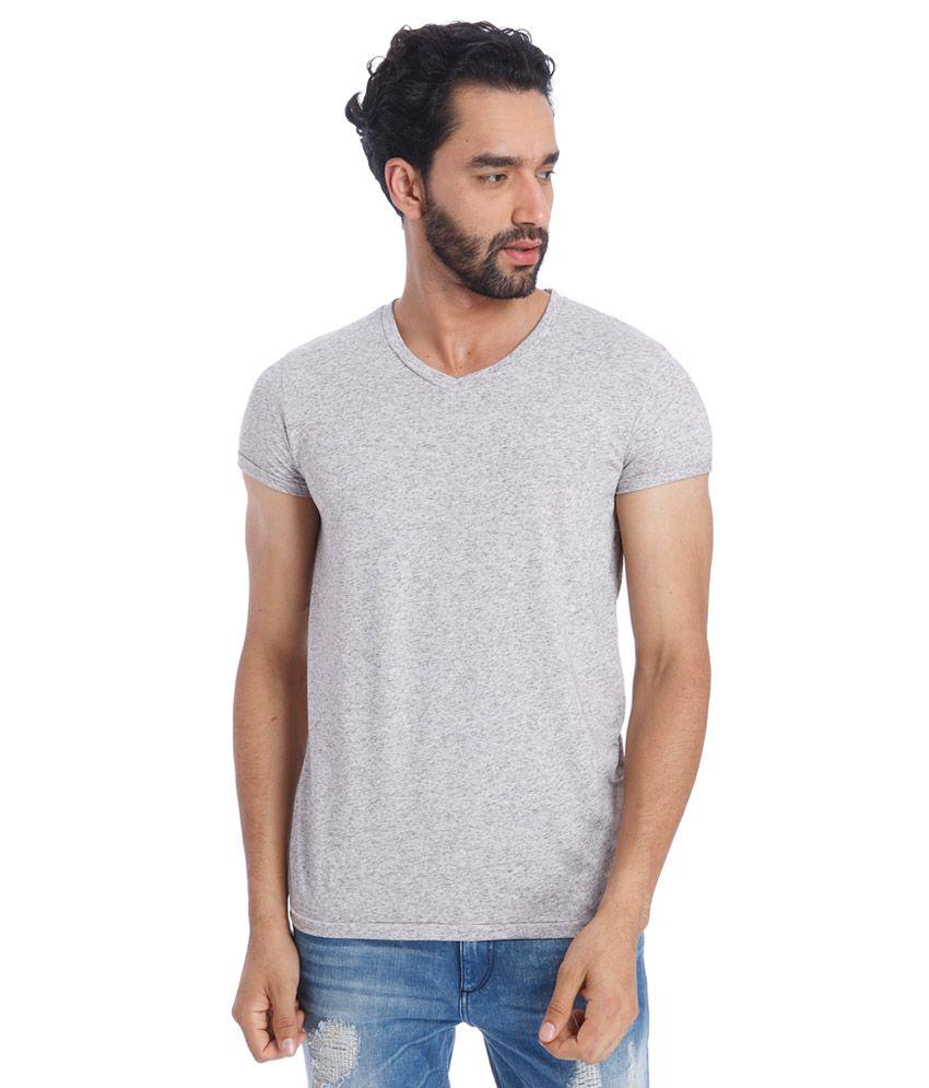 Jack & Jones Grey V-Neck Half Sleeves Solids T-Shirt
