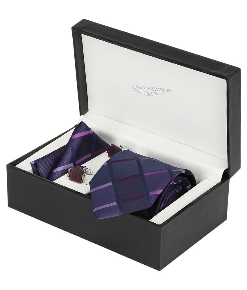 Lino Perros Purple Men Combo Tie Cufflink & Pocket Square