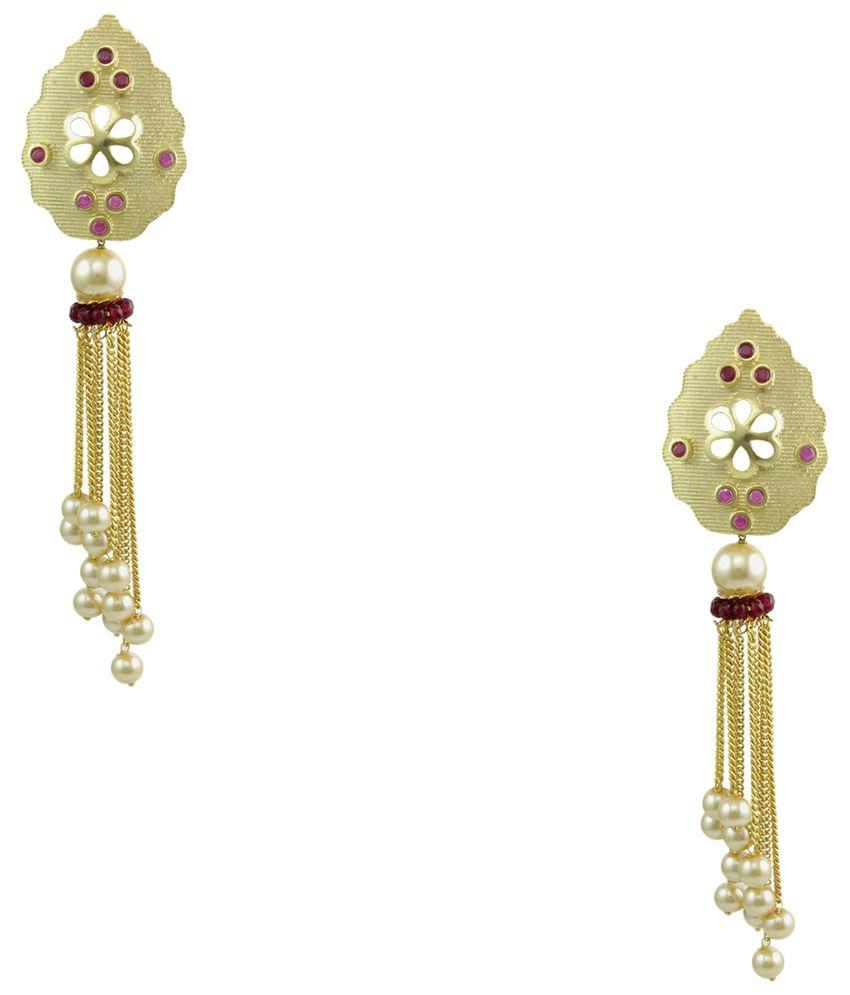 Orniza Brass Gold Plating American diamonds Studded Gold Coloured Earrings