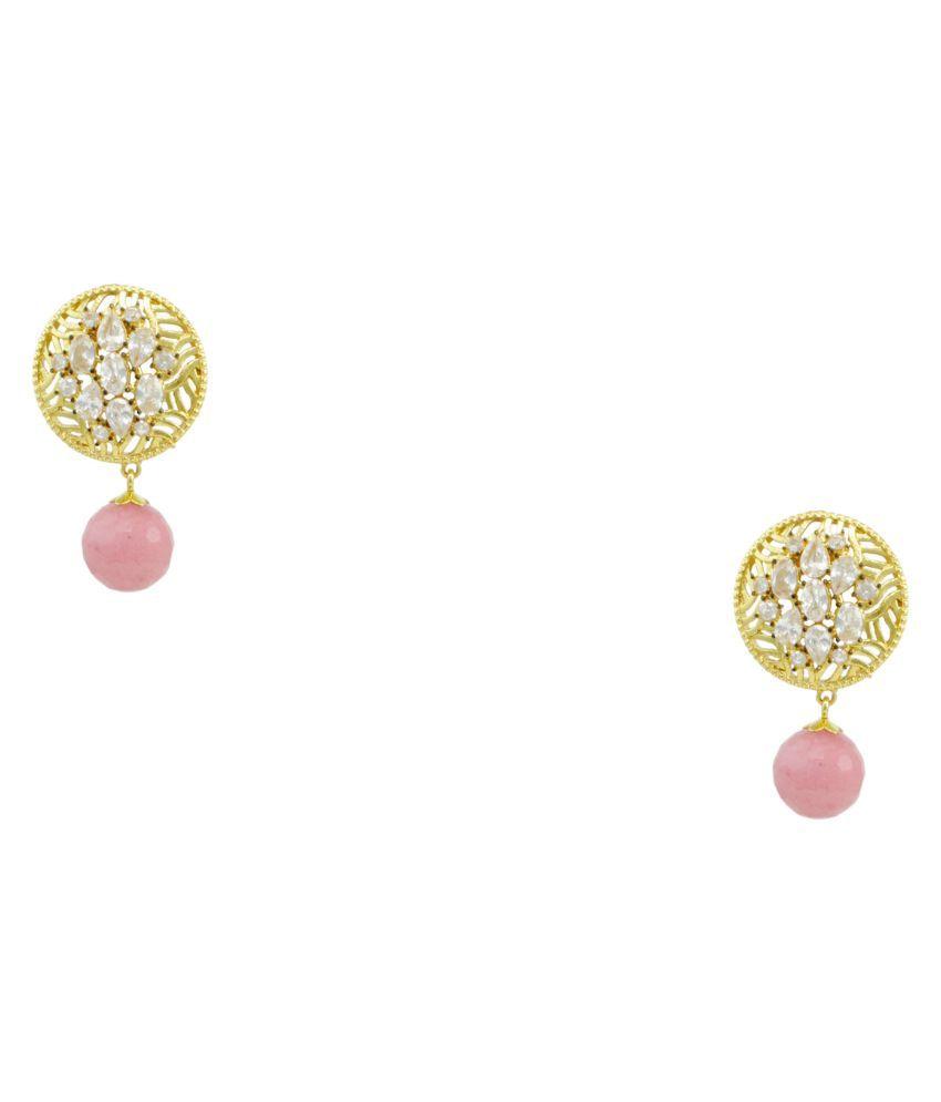 Orniza Brass Gold Plating Cubiz Zirconia Studded Multi Coloured Earrings