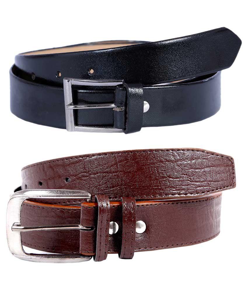 Kritika World Multicolour Casual Belt For Men - Pack of 2