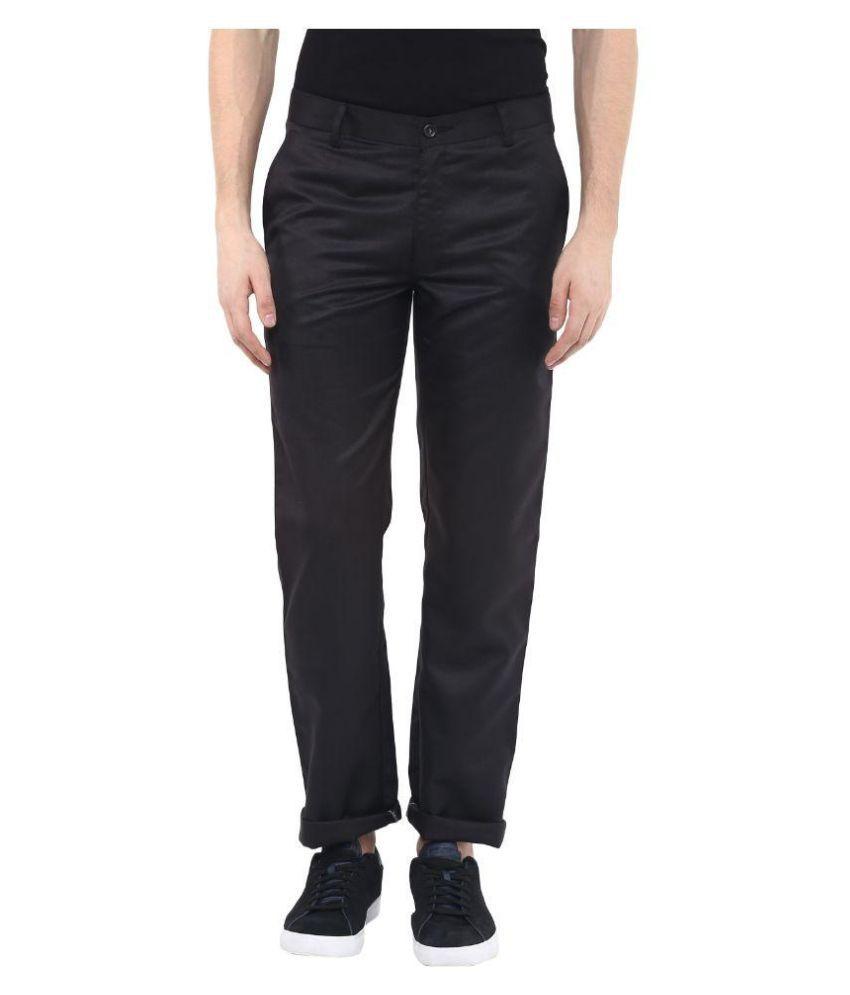 Urbano Fashion Black Slim Fit Flat Trouser
