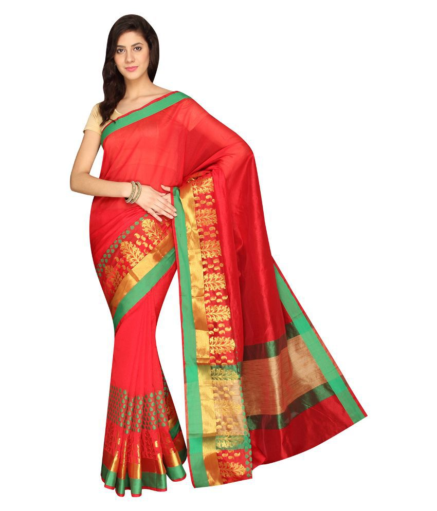 Pavecha's Red Cotton Silk Saree