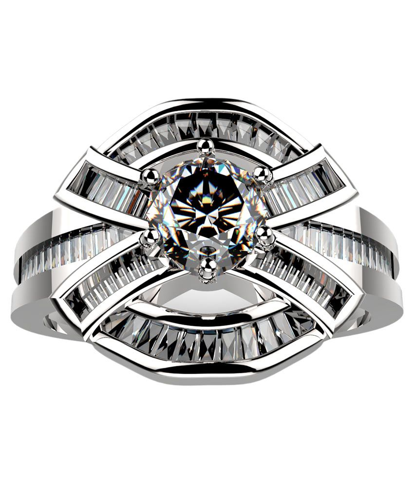Silver Taper Jewels 92.5 Sterling Silver Diamond Ring
