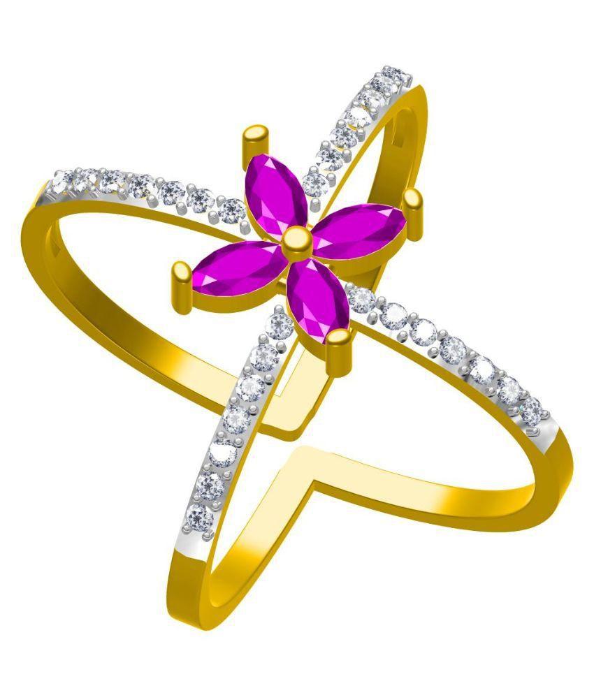 Twisha Alloy Gold Plating Cubiz Zirconia Studded Gold Coloured Ring