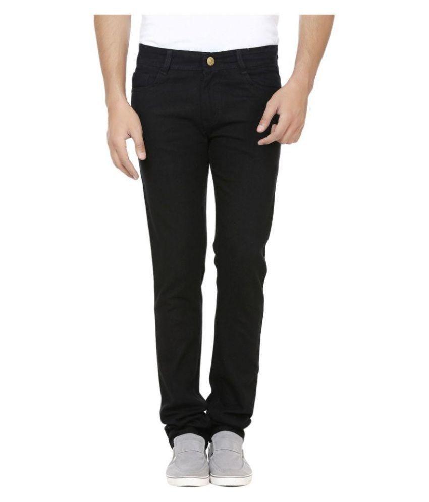 Ave Black Regular Fit Solid Jeans