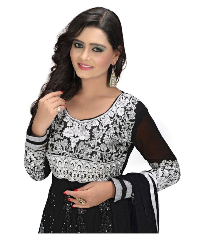 14a19a0d06b01 ... Khazana Bazaar Black Georgette Anarkali Semi Stitched Dress Material ...