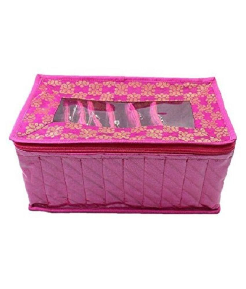 Kuber Industries Fabric Studded Pink Coloured Jewellery Box - With 10  Pouches