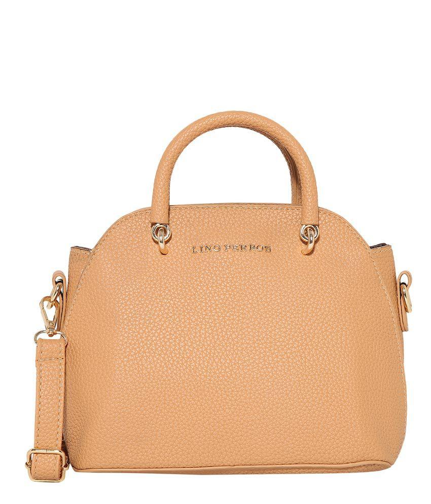 Lino Perros Beige Faux Leather Shoulder Bag