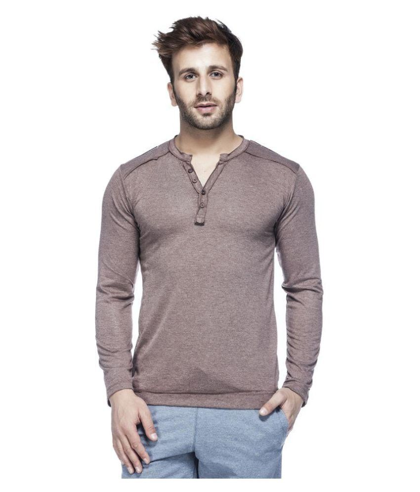 Tinted Brown Henley T Shirt