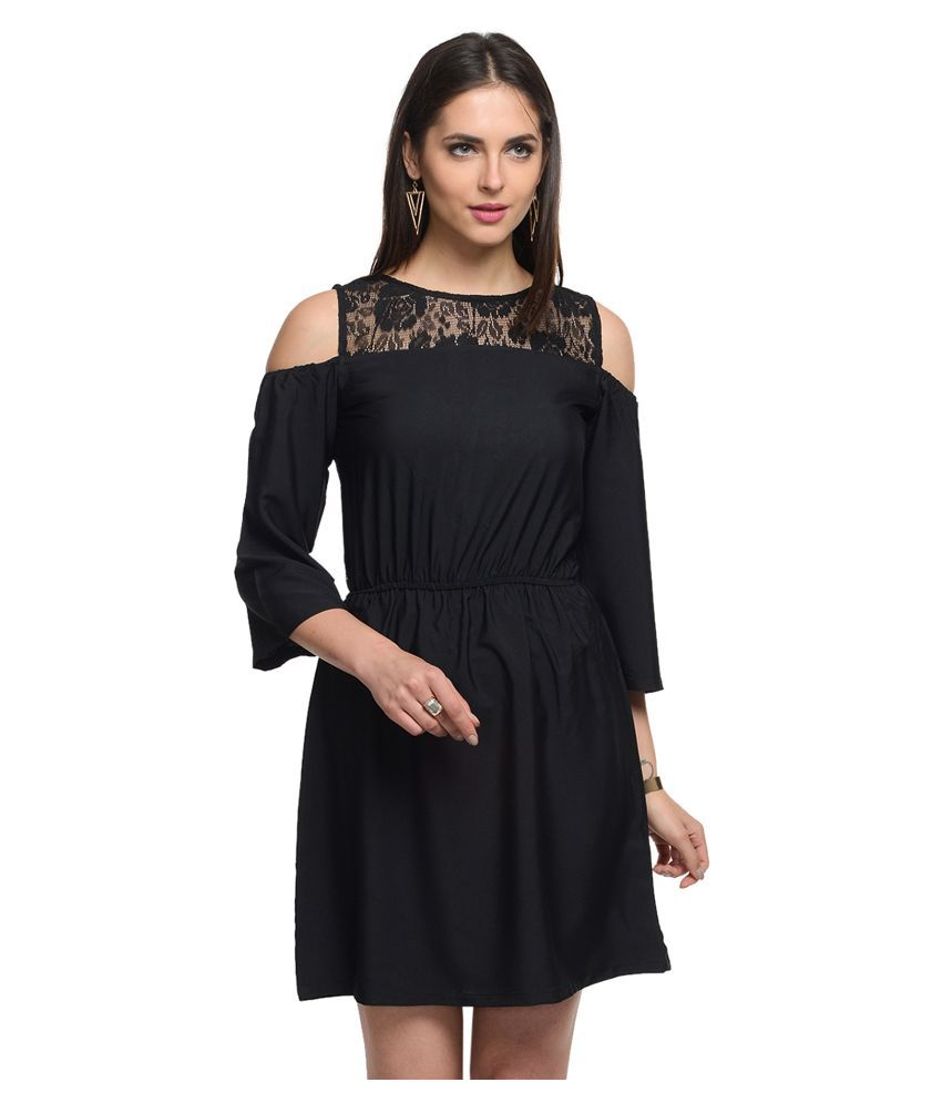 At499 Black Polyester Dresses