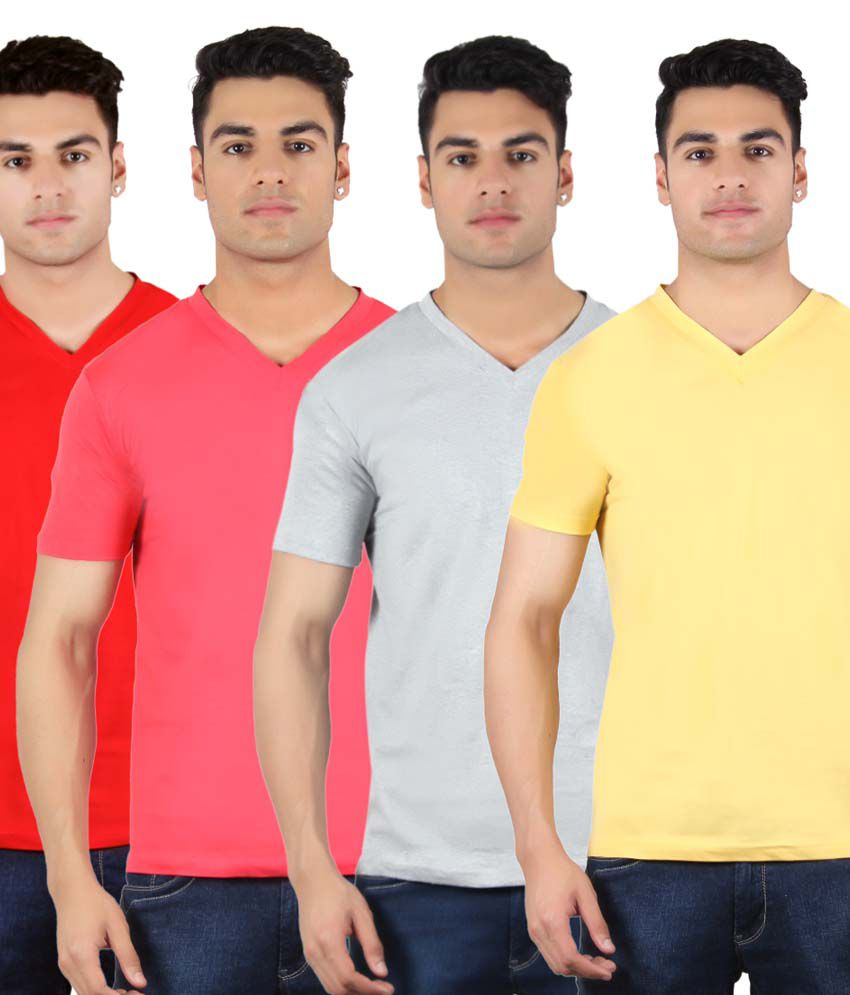 Diaz Multi V-Neck T Shirt Pack of 4