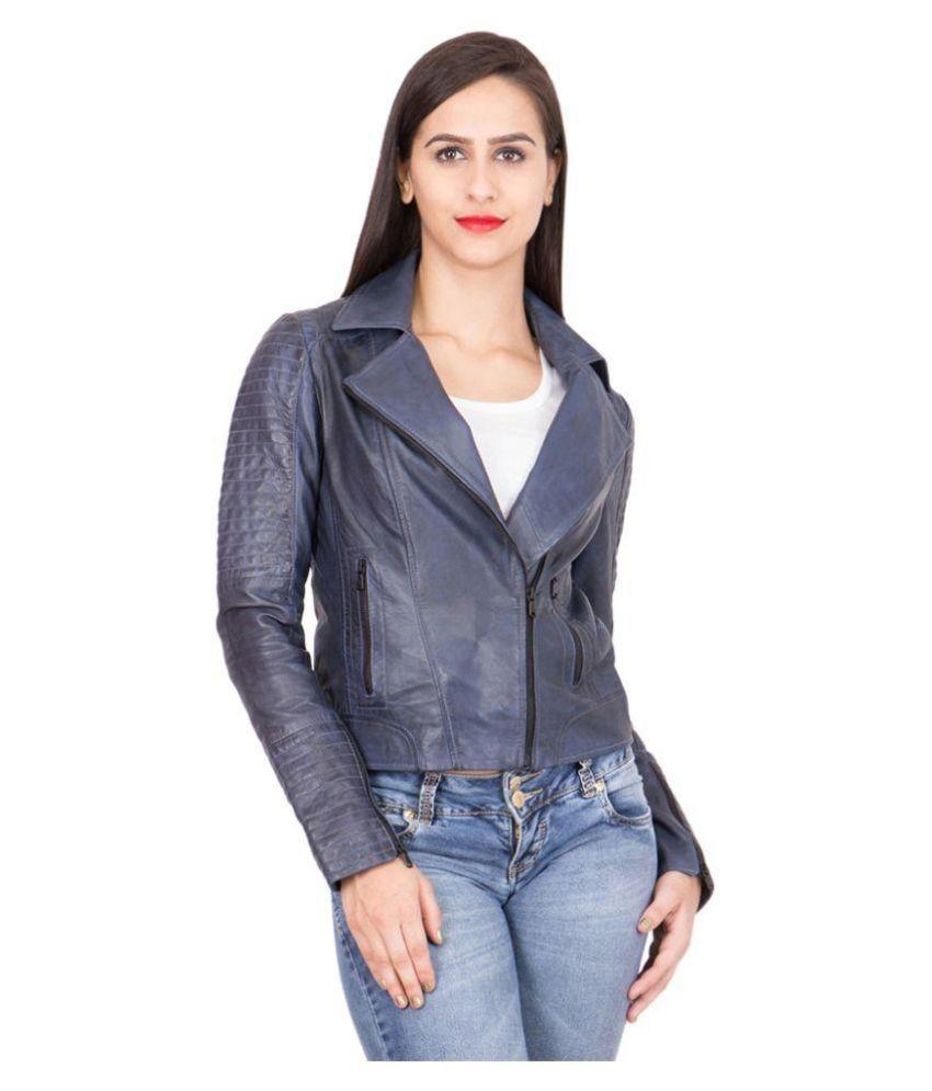 Justanned Blue Biker Jacket For Girls