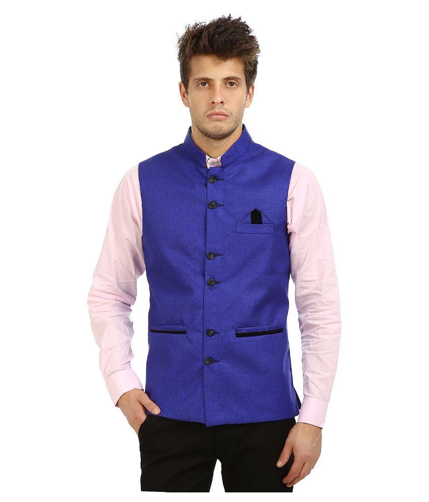 Zuricch Blue Casual Waistcoats