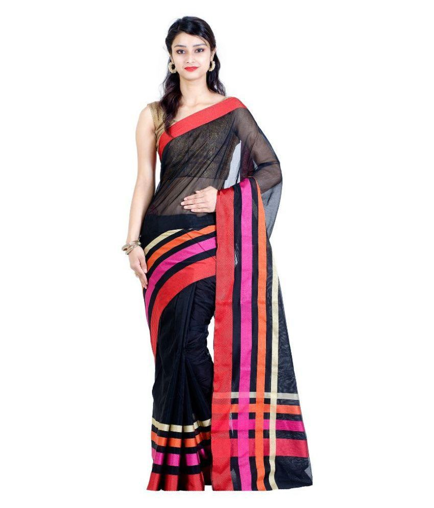 La'ethnic Black Net Saree
