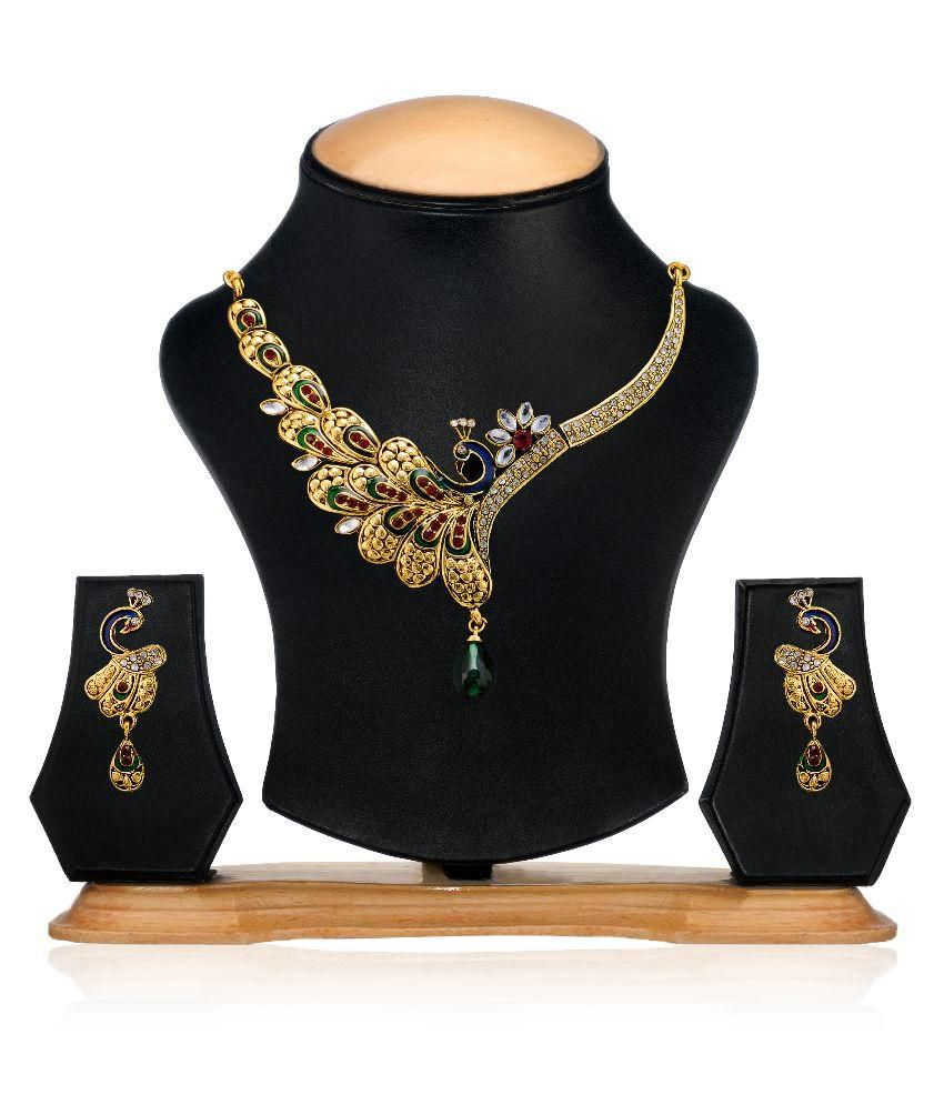 Zaveri Pearls Peacock Necklace Set