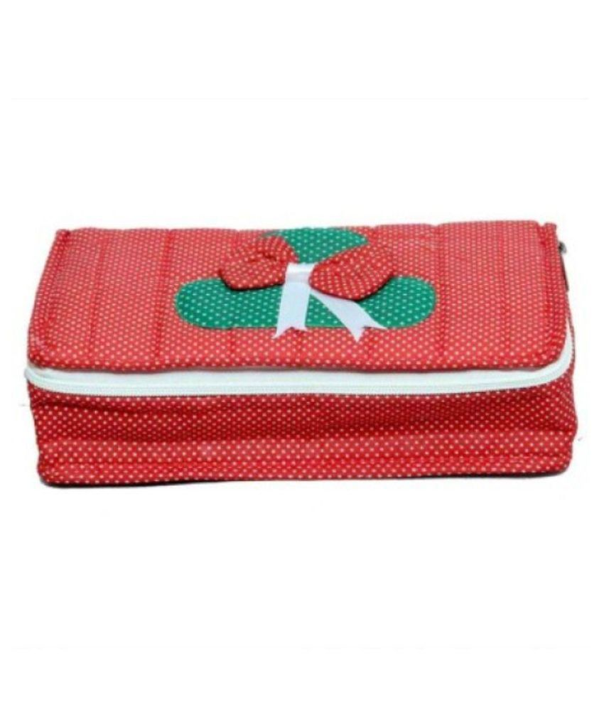 Hanu Enterprises Fabric Red Jewellery Box