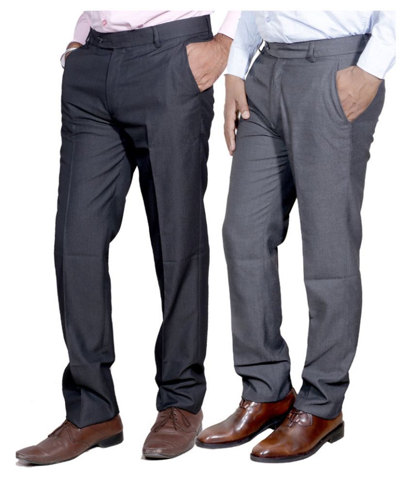 Indiweaves Multi Regular Fit Flat Trousers Pack of 2 Rayon Trousers