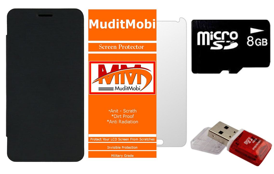MuditMobi Flip Cover With Screen Protector & 8GB Memory Card, Card Reader For- Intex Aqua Ace - Black