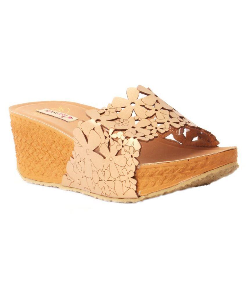 Foot Candy Beige Platforms Heels