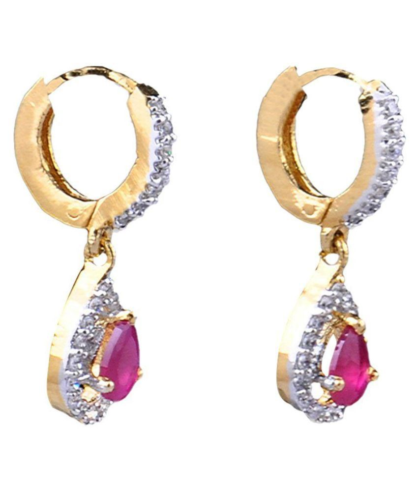 Classic Jewellery Multicolour Alloy American Diamond Studded Drop Earrings