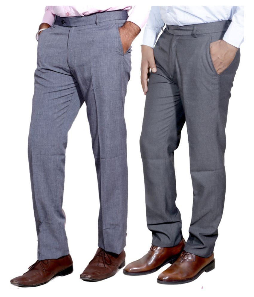 IndiWeaves Grey Regular Fit Flat Trousers Pack of 2