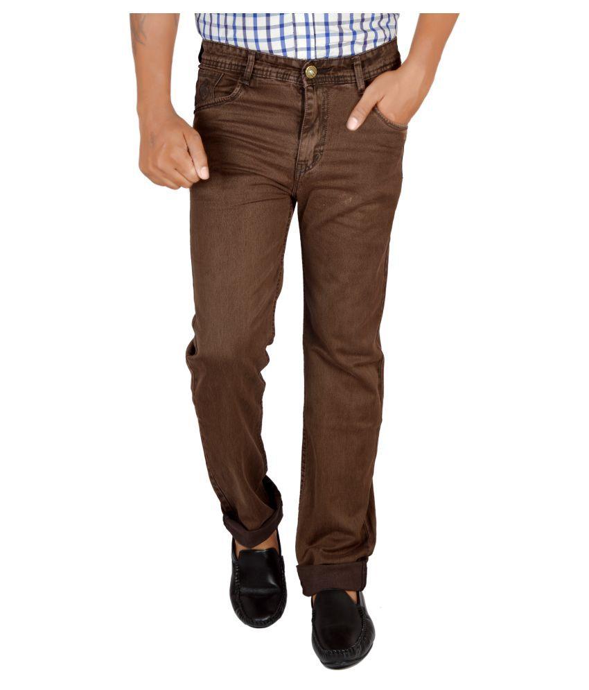Allen Martin Brown Regular Fit Solid Jeans
