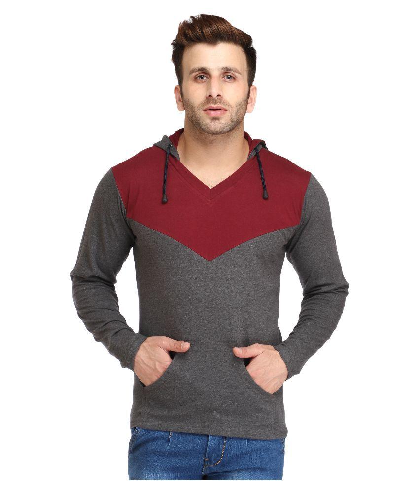 Black t shirt on flipkart - Leana Grey Hooded T Shirt
