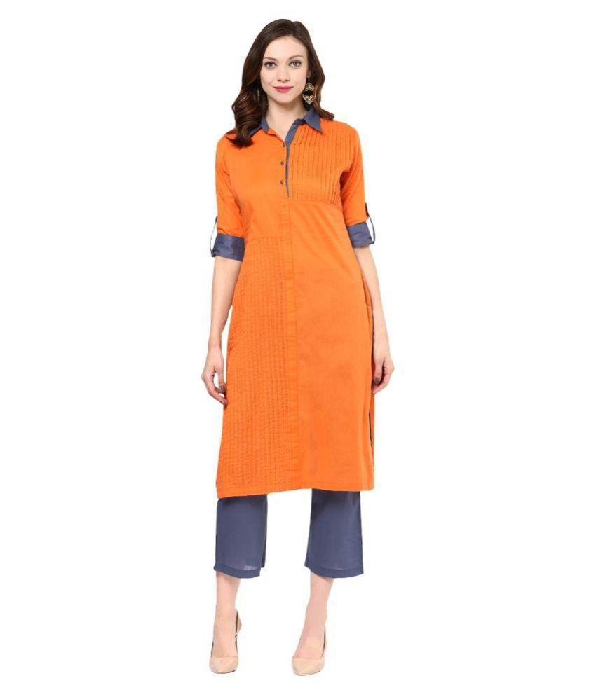 Apple Creation Orange Cotton Straight Kurti
