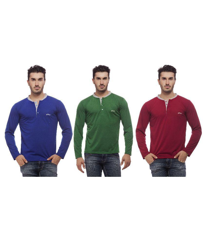 Grovey Multi Henley T Shirt Pack of 3