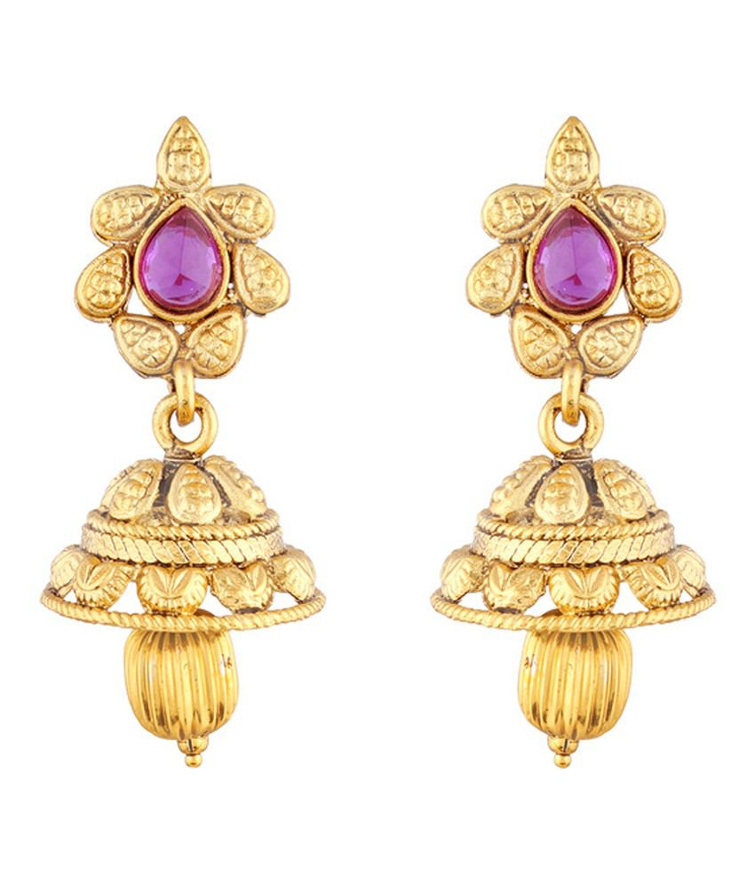 I Jewels Alloy Gold Plating Stones Studded Gold Coloured Earrings