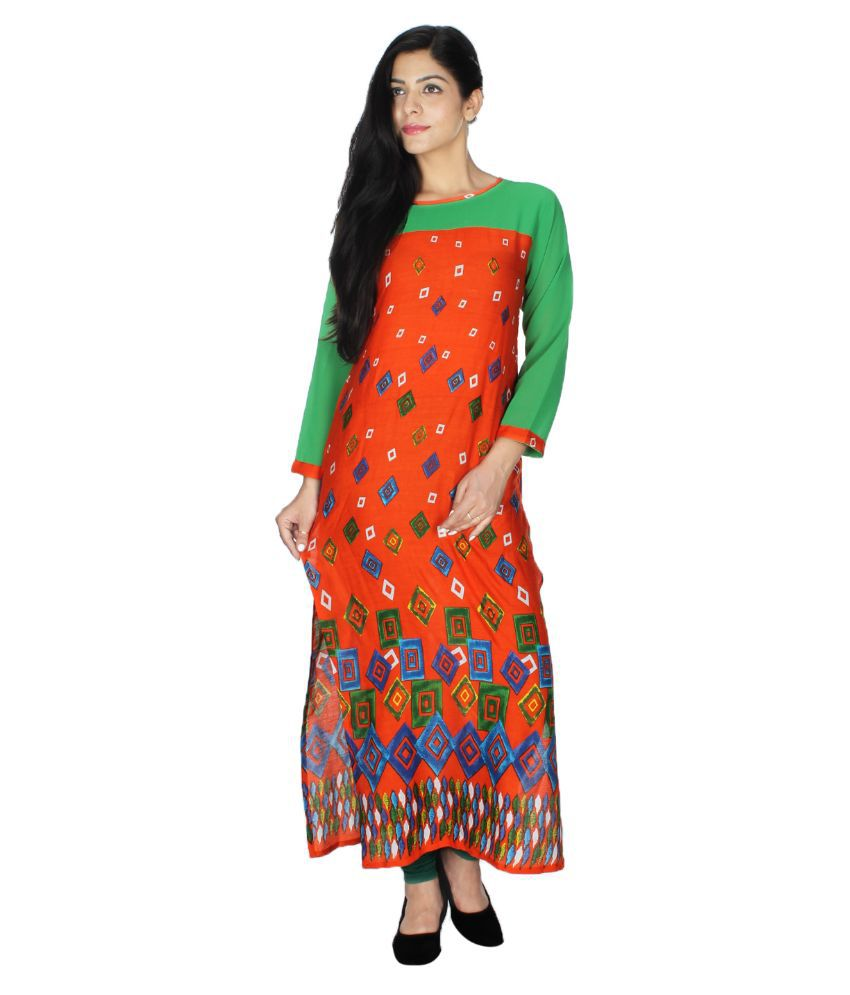 Sneharsh Orange Rayon Straight Kurti