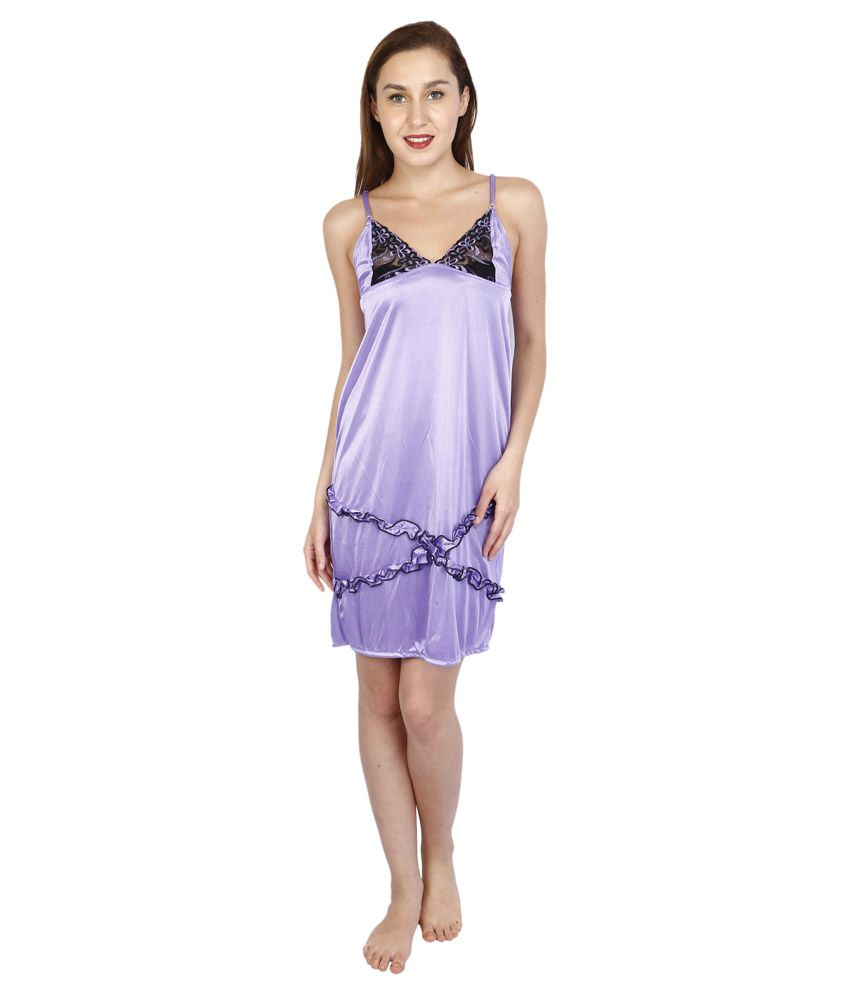 Bailey Purple Satin Baby Doll Dress available at SnapDeal for Rs.259 2300734f7