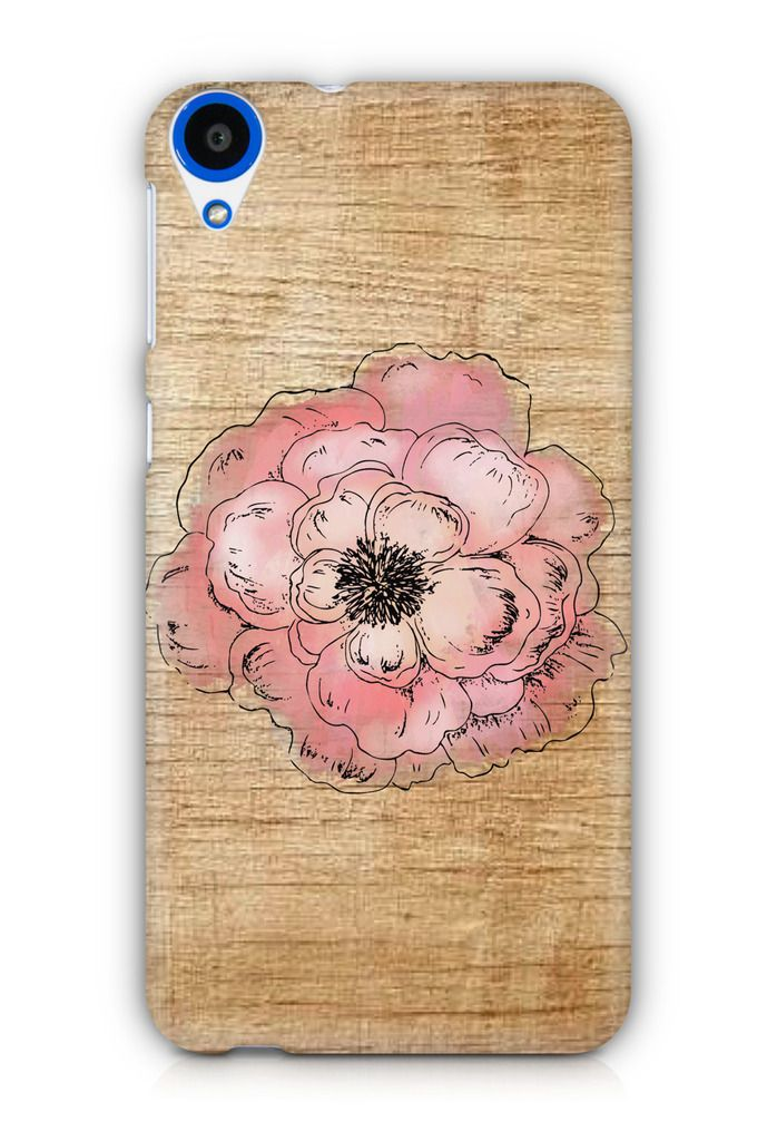 Cover Affair Wood / Flower 3D Printed Back Cover Case for HTC Desire 820