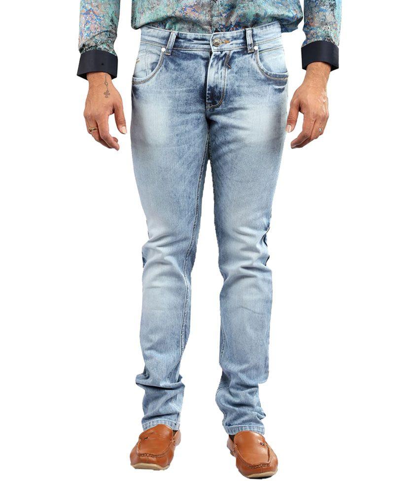 Apris Blue Regular Fit Washed Jeans