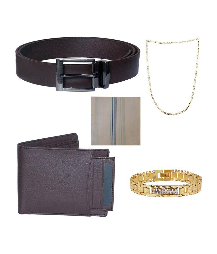 Sondagar Arts Men's Belt with Wallet, Bracelet, Chain & Handkerchief