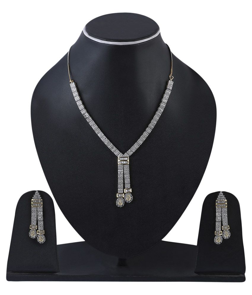 Catchme Alloy Gold Plating Studded Silver Coloured Necklaces Set