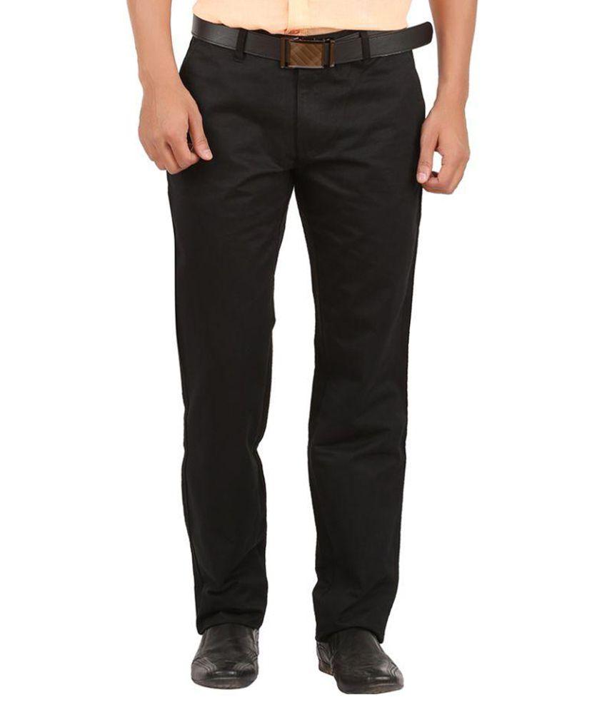 GM Fashions Black Regular Fit Flat Trouser