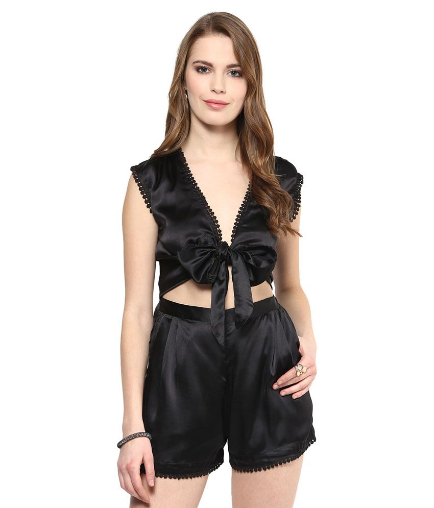 Yepme Black Polyester Jumpsuits