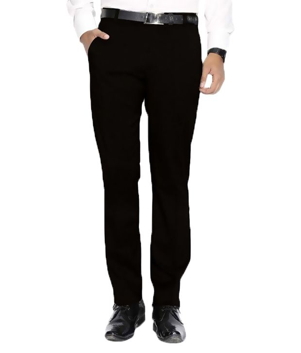 Frankline Black Regular Fit Flat Trousers Single