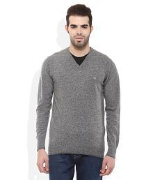 Woodland Grey V-Neck Solids Sweaters
