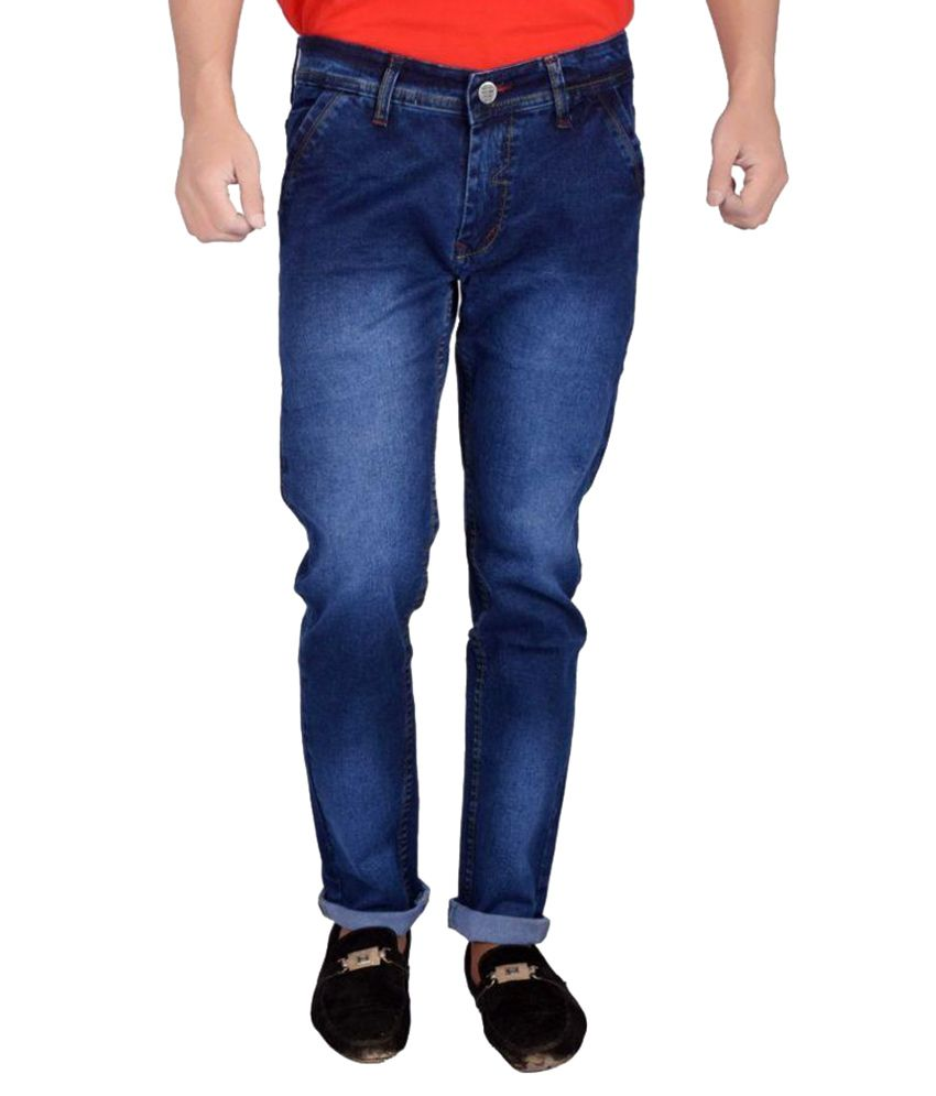 Won99 Blue Slim Fit Solid Jeans