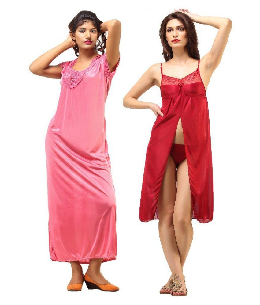 Desiharem Multi Color Poly Satin Nighty & Night Gowns