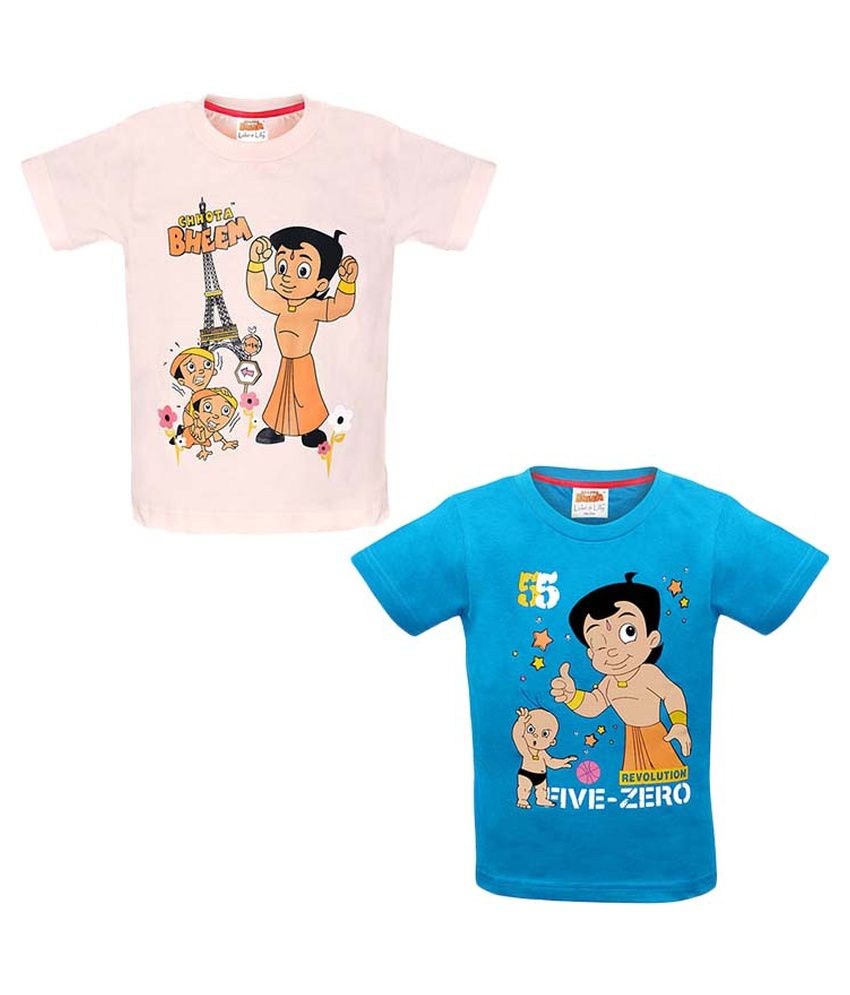 Chhota Bheem Pink and Blue Cotton baby tshirt (Pack of 2)